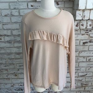 Lucky Brand Long Sleeve Ruffled Rough hem T shirt
